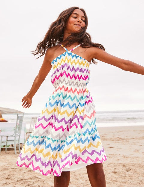 Strappy Smocked Midi Dress - Rainbow Chevron