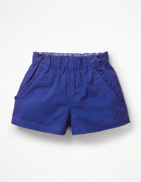 Ruffle Pocket Twill Shorts - Blue Wave