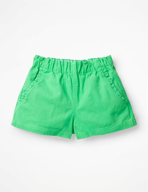 Ruffle Pocket Twill Shorts - Parrot Green