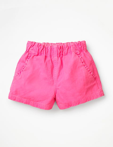 Ruffle Pocket Twill Shorts - Festival Pink