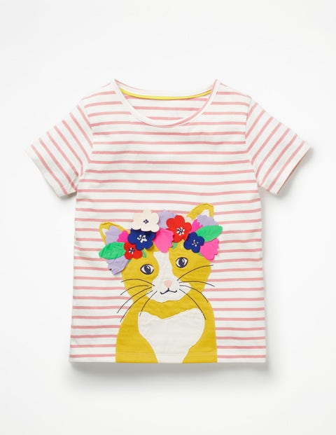 Flower Crown Appliqué T-Shirt - White/Shell Pink Cat