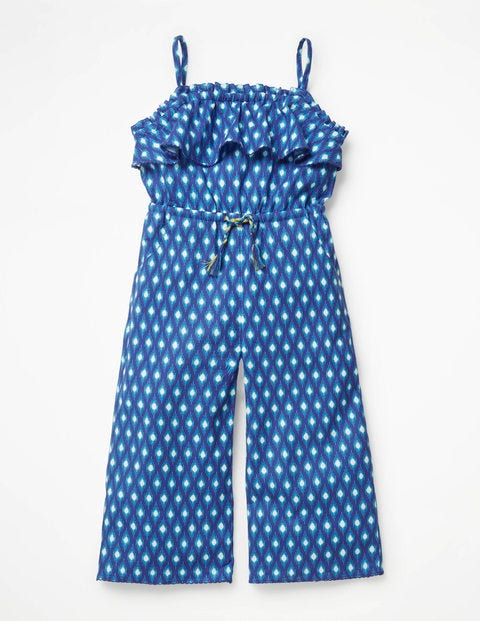 Strappy Jumpsuit - Blue Wave Ikat
