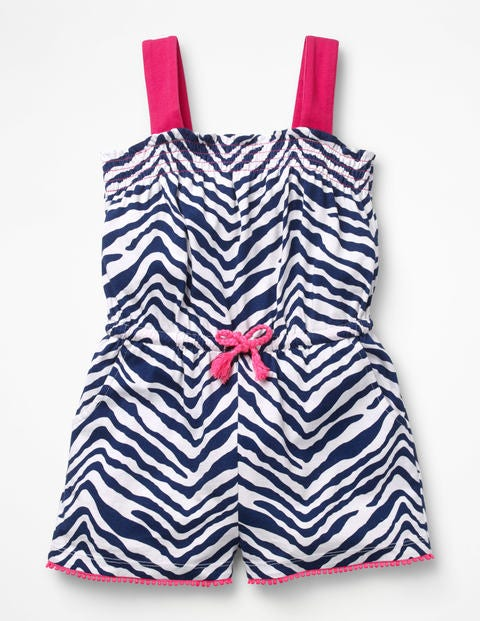 Zebra Print Playsuit - College Blue Zebra