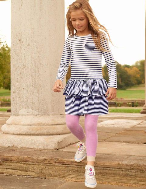 Ribbed Footless Tights - Lilac Pink