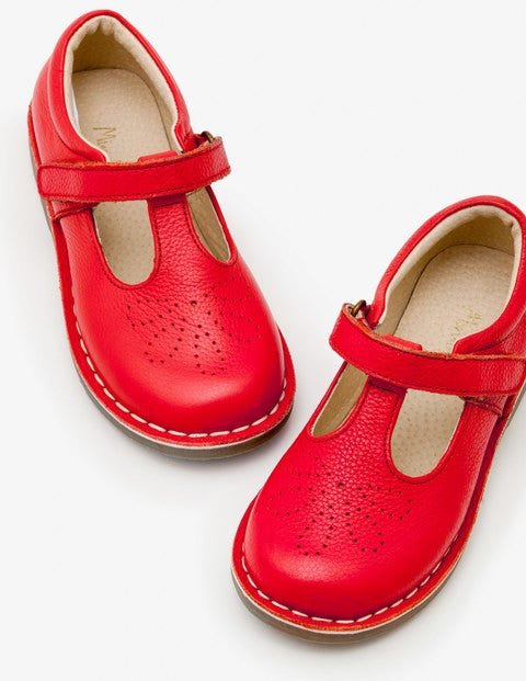 Leather T-Bar Flats - Beam Red