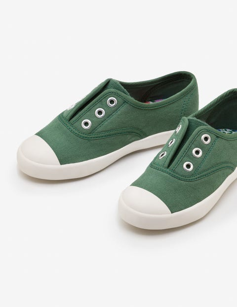 Laceless Canvas Sneakers - Rosemary Green