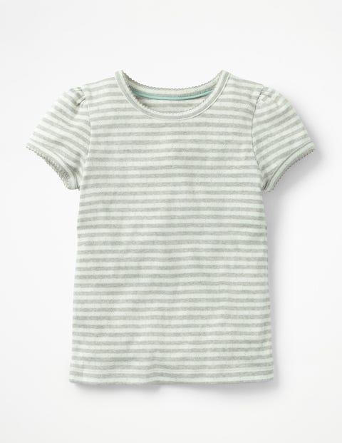 Short-Sleeved Pointelle Top - Ecru/Grey Marl