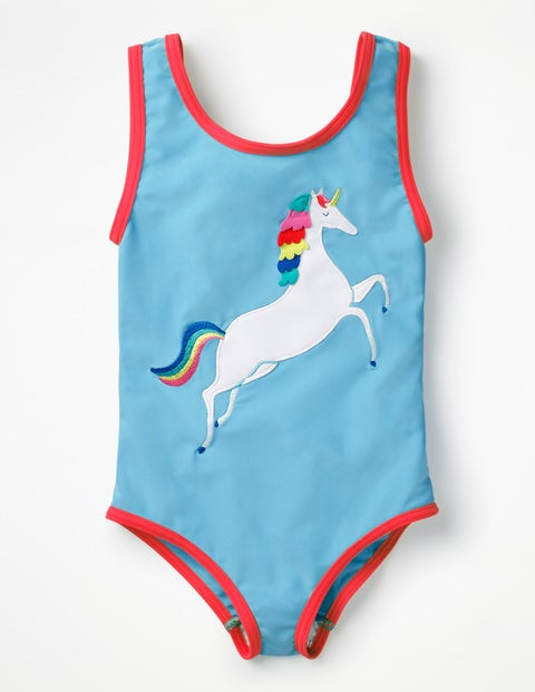 Fun Detail Swimsuit - Candy Blue Unicorn