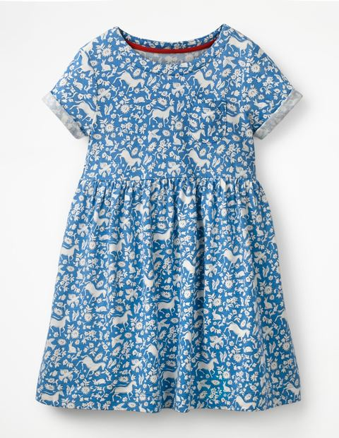Fun Jersey Dress - Elizabethan Blue Wild Ponies