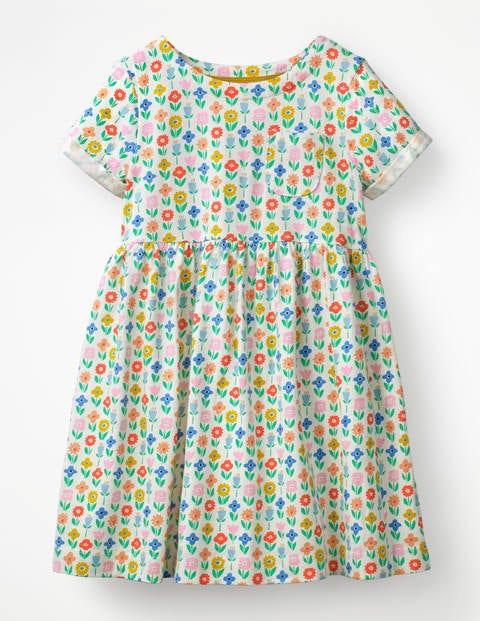 Witziges Jerseykleid - Naturweiß, Blumenaufnäher