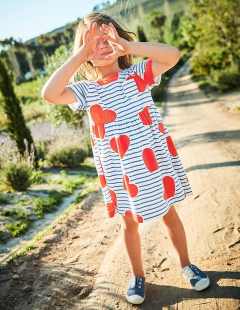 Fun Jersey Dress - Elizabethan Blue Stripe/Hearts