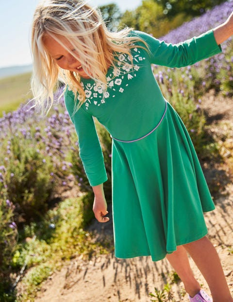 Embroidered Ballerina Dress - Jungle Green