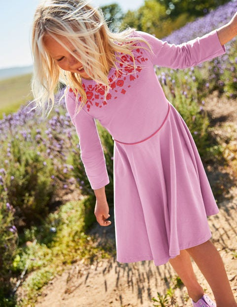 Embroidered Ballerina Dress - Lilac Pink