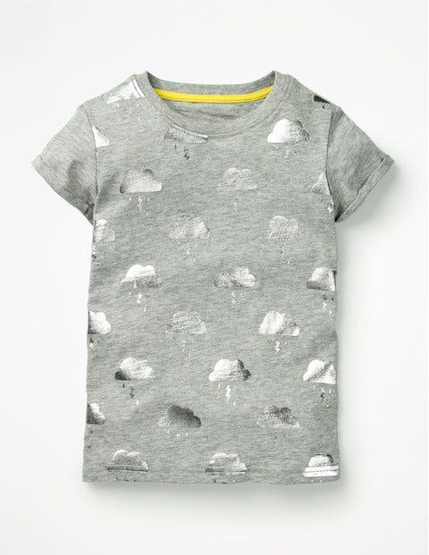 Foil Print T-Shirt - Grey Marl Foil Clouds