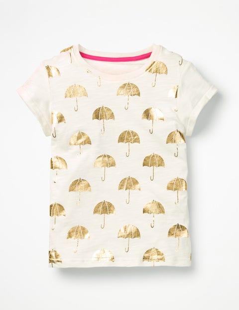 Foil Print T-Shirt - Ivory Foil Umbrella