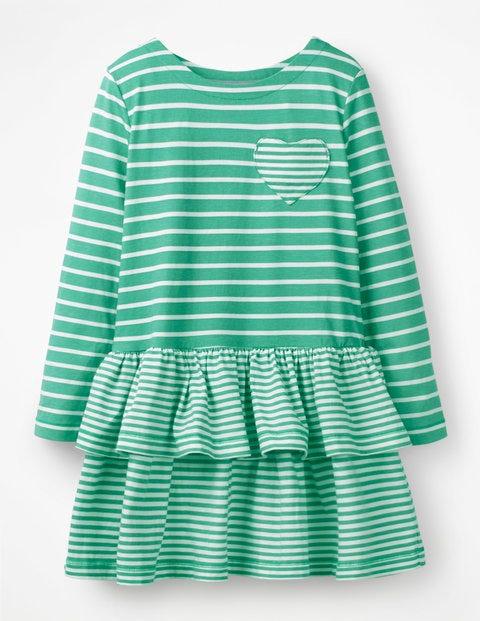 Stripy Jersey Dress - Jungle Green/Ivory