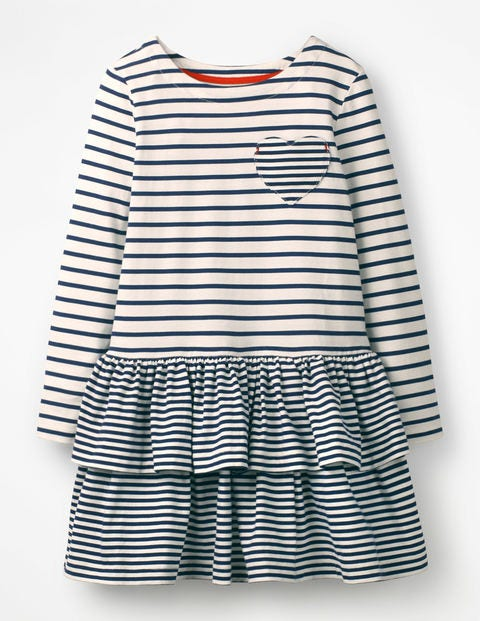 Stripy Jersey Dress - College Blue/Ivory