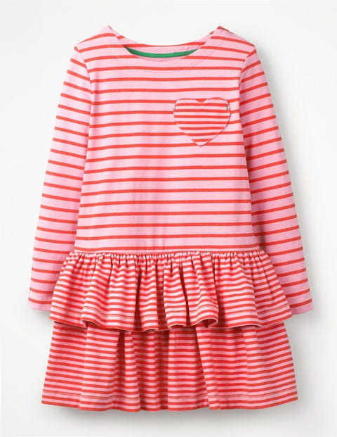 Stripy Jersey Dress - Parasol Pink/Red