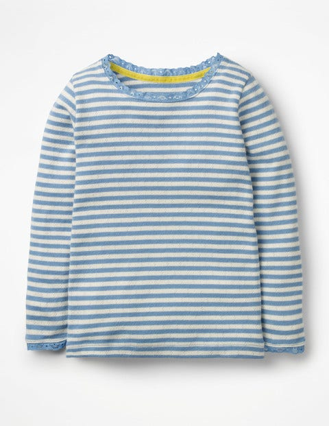 Supersoft Pointelle T-Shirt - Lake Blue/Ivory