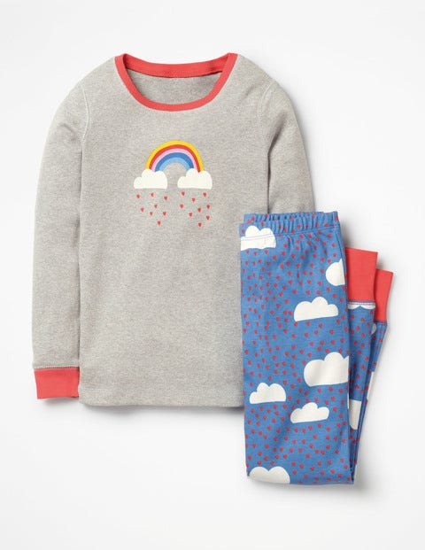 Bequemer Langer Schlafanzug - Seeblau, Liebeswolken