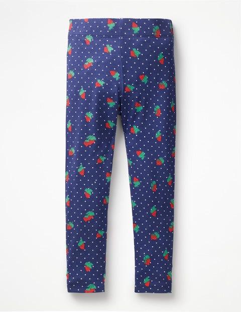 Fun Leggings - Starboard Blue Strawberry Spot