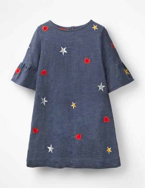 Flute-Sleeved Dress - Indigo Jersey Hearts