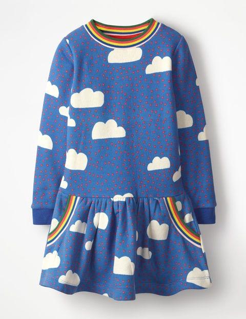 Cosy Sweatshirt Dress - Blue Love Clouds