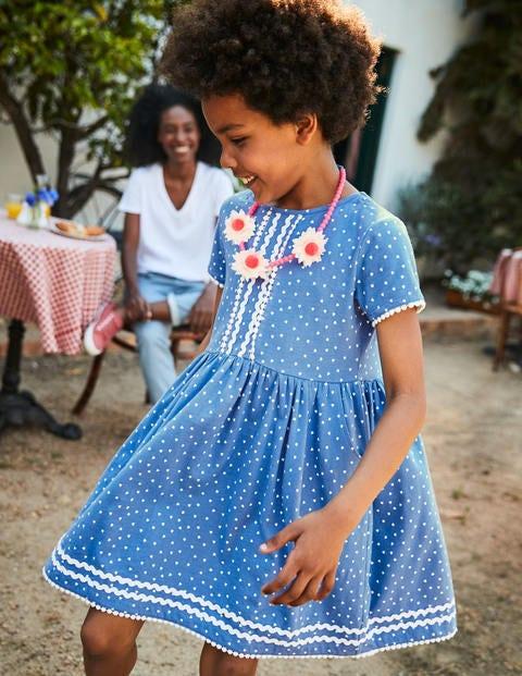 Heart Print Jersey Dress - Elizabethan Blue Sweet Hearts