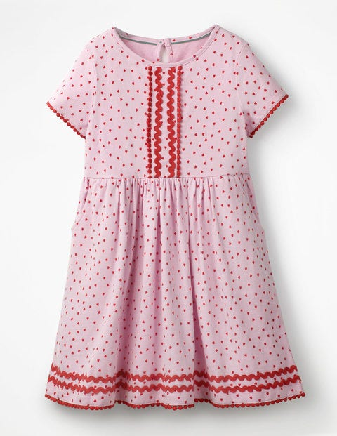 Heart Print Jersey Dress - Parasol Pink Sweet Hearts