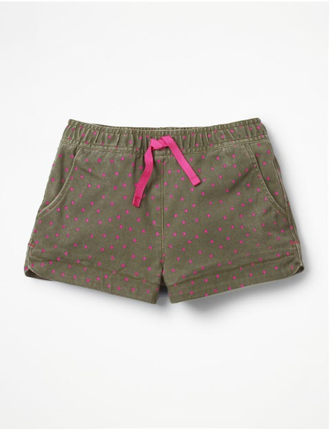 Heart Pocket Shorts - Khaki Green Sweet Hearts