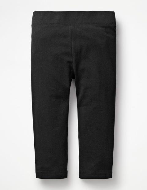 Plain Cropped Leggings - Black