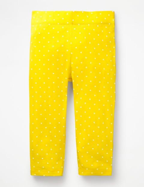 Stripe & Spot Cropped Leggings - Sunshine Yellow Pin Spot