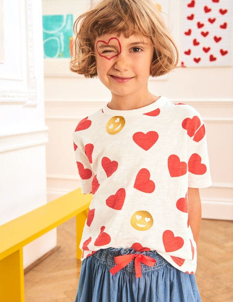 Love T-Shirt - Ivory/Jam Hearts
