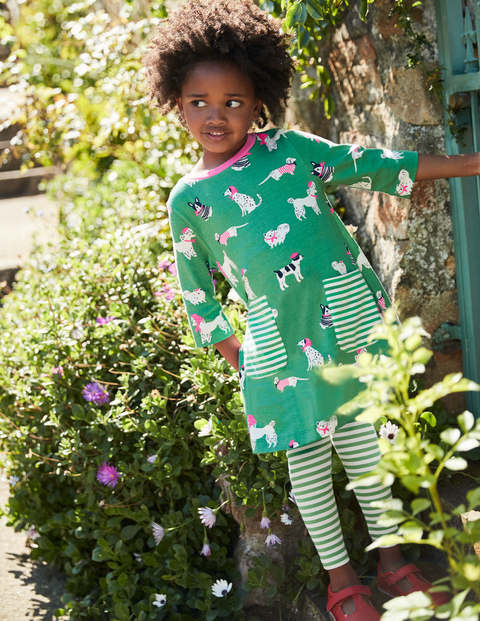 Printed Tunic - Jungle Green Doodle Dogs
