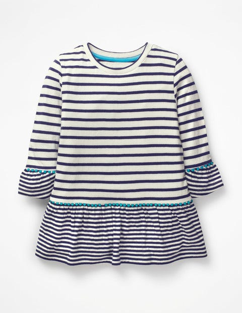 Stripy Longer Length Top - Ivory/College Blue