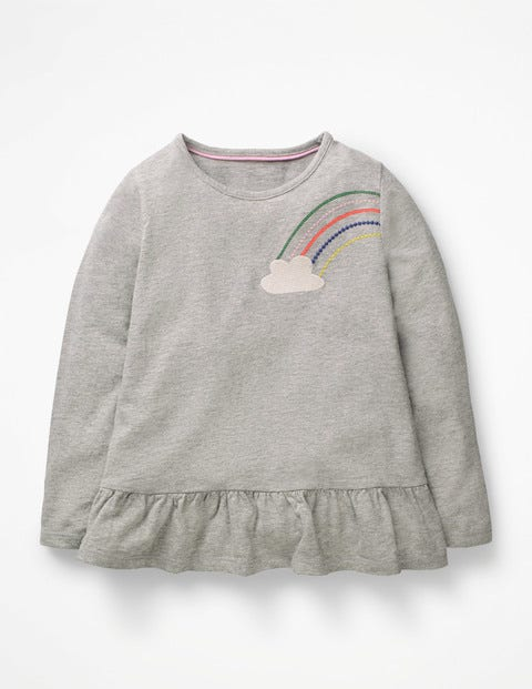 Embroidered Frilly Top - Grey Marl Rainbow