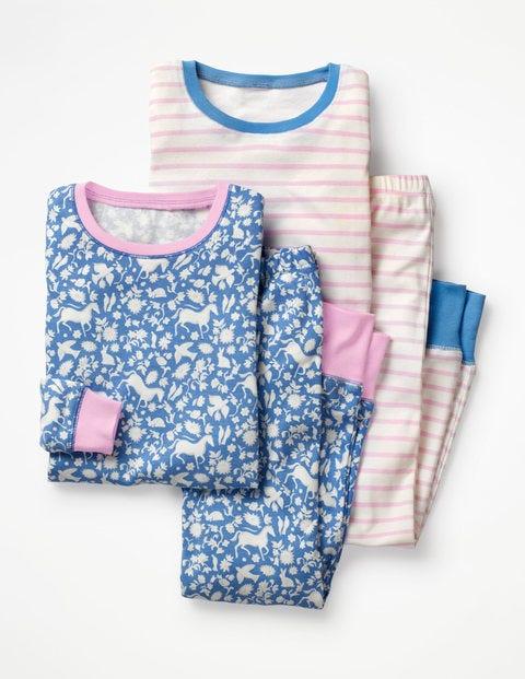 Twin Pack Long John Pyjamas - Lake Blue Wild Ponies/Pink