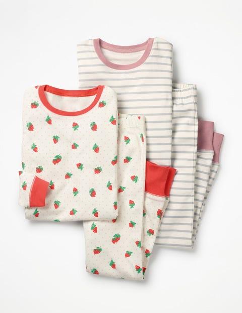 Twin Pack Long John Pajamas - Ivory Strawberry Spot/Grey