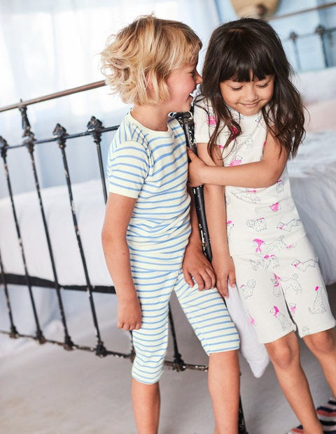 Twin Pack Short John Pyjamas - Ivory Doodle Dogs/Lake Blue