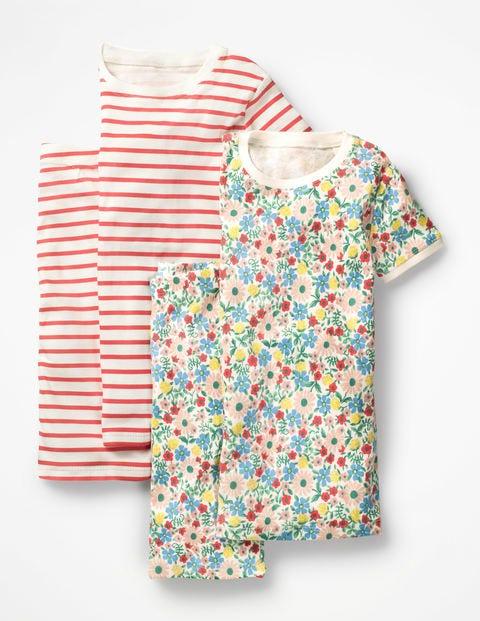 Twin Pack Short John Pyjamas - Multi Jolly Floral/Jam Red