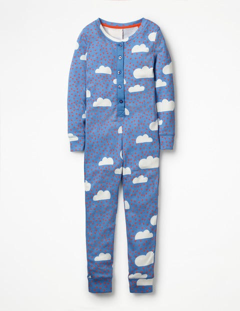 Printed All-In-One Pajamas - Lake Blue Love Clouds