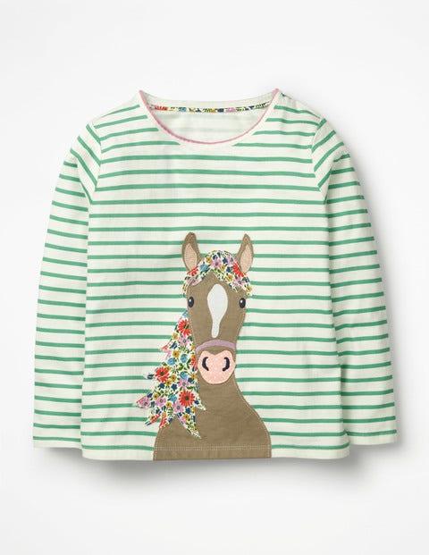 Stripy Animal Appliqué T-Shirt - Ivory/Jungle Green Horse