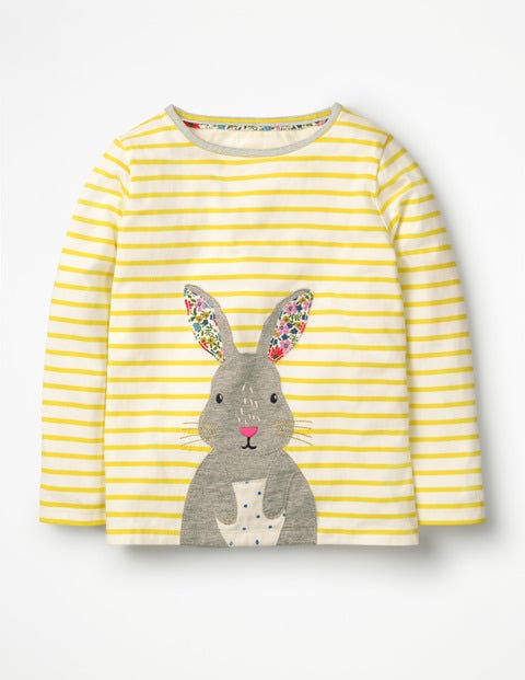 Stripy Animal Appliqué T-shirt - Ivory/Sunshine Yellow Bunny