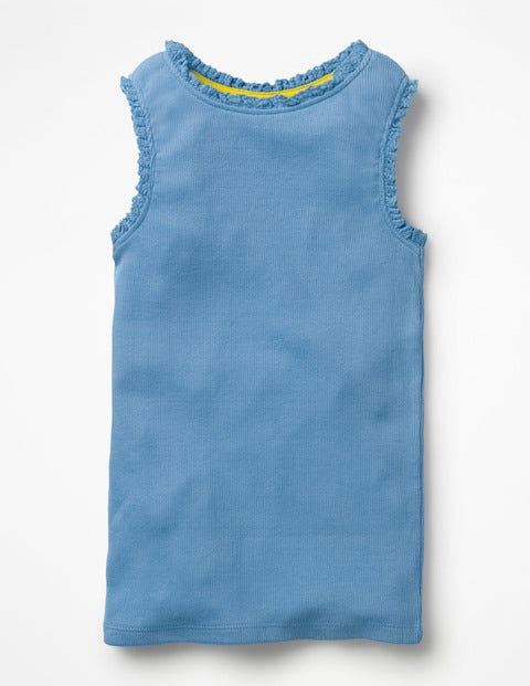Lace Trim Ribbed Tank - Lake Blue