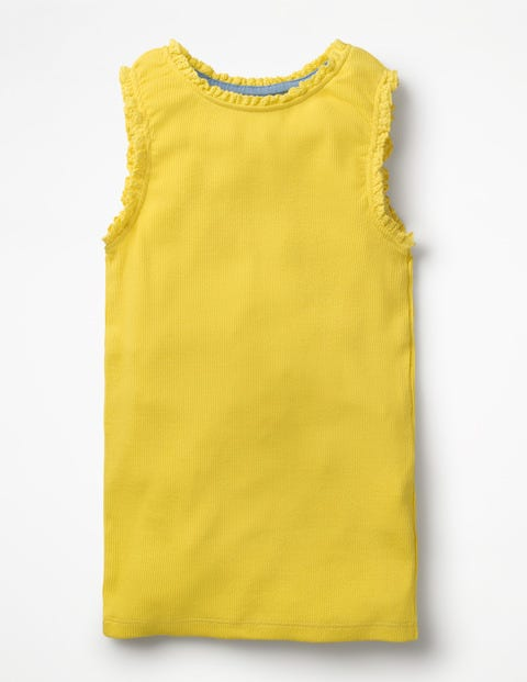 Lace Trim Ribbed Tank - Sunshine Yellow