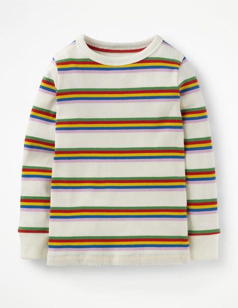 Stripy Ribbed T-Shirt - Ivory/ Multi Rainbow