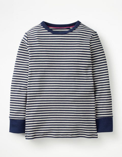 Stripy Ribbed T-Shirt - College Blue/Ivory