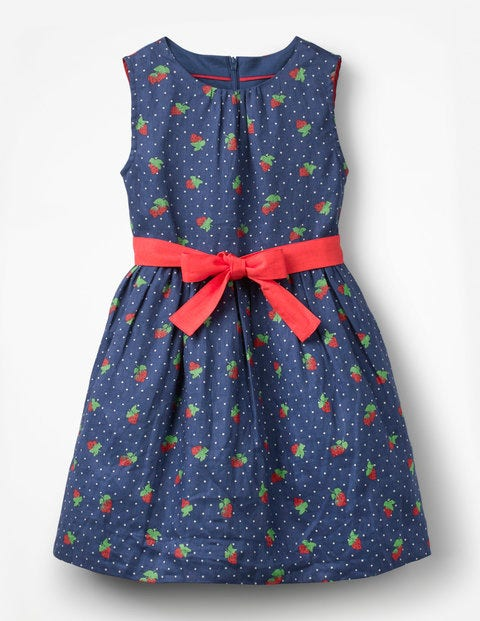 Vintage Dress - Starboard Blue Strawberry Spot