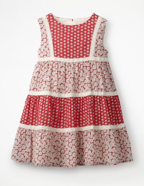 Floaty Hotchpotch Dress - Jam Red Daisies