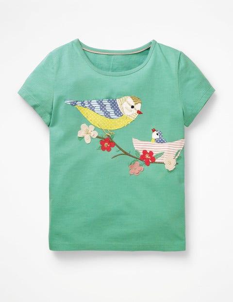 Animal Appliqué T-Shirt - Jungle Green Birds